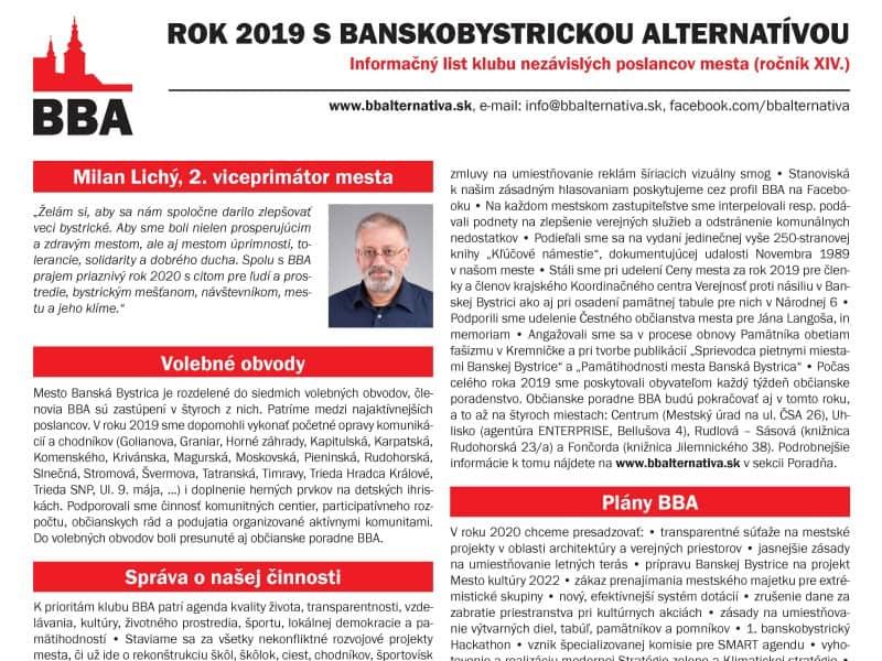 Rok 2019 sBanskobystrickou alternatívou